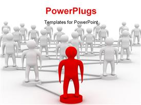 PowerPoint template displaying teamwork depiction with men standing on linked circles and red leader