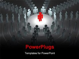 PowerPoint template displaying red 3D man stands on stage in conference hall depicting leadership