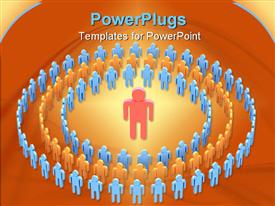 PowerPoint template displaying blue and orange 3D men form concentric circles around red man