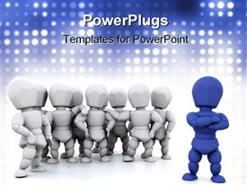 PowerPoint template displaying white and blue animation of lots of human figures