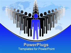 PowerPoint template displaying a person leading a group of people