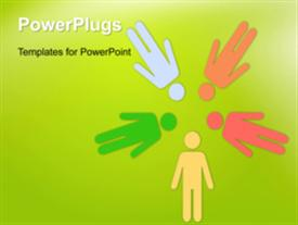 PowerPoint template displaying animated teamwork depiction with colored paper people on green surface