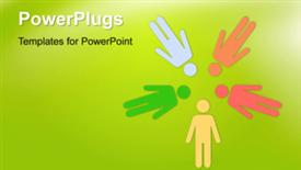 PowerPoint template displaying animated teamwork depiction with colored paper people on green surface - widescreen format