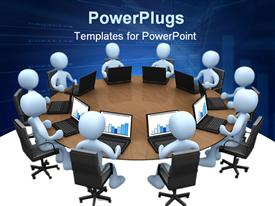 PowerPoint template displaying lots of animated human figures with laptops on a round table meeting