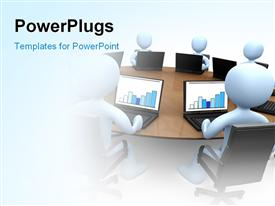 PowerPoint template displaying people sitting around a table using laptops in the background.