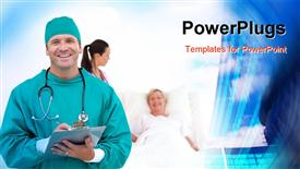 PowerPoint template displaying team of Doctors working in a Hospital ward in the background.