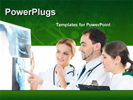 PowerPoint template displaying three doctors examining x-ray scan with stethoscope around neck