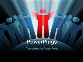PowerPoint template displaying team of people with hands up 3D rendering in the background.