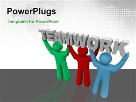 PowerPoint template displaying three people carrying the word teamwork with map in the background
