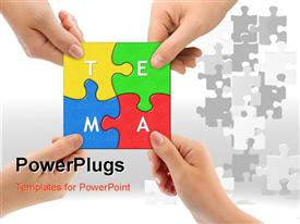 PowerPoint template displaying teamwork depiction with hands holding colored teamwork puzzle pieces together