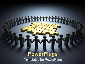 PowerPoint template displaying lots of 3D human characters forming a circle round some gold puzzles