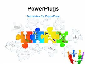 PowerPoint template displaying pieces of puzzle with peoples definitions making bright word team in the background.