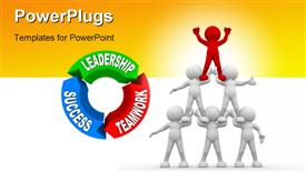 PowerPoint template displaying six people human pyramid next to leadership, success and teamwork cycle