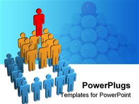 PowerPoint template displaying teamwork metaphor with people stacked in pyramid, stack of balls in background