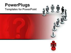 PowerPoint template displaying sign on a question made of people. 3D depiction in the background.