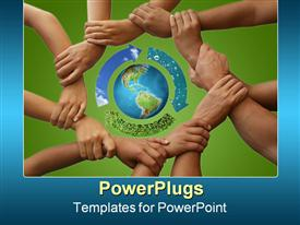 PowerPoint template displaying a group of people holding each other's hands and protecting the Earth