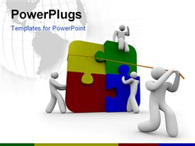 PowerPoint template displaying team of four people put a puzzle together in the background.