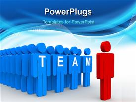 PowerPoint template displaying a team with a leader and bluish background