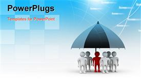 PowerPoint template displaying team standing with a black umbrella in abstract background