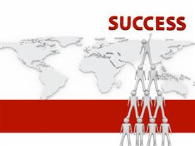 PowerPoint template displaying team Success - 3D in the background.