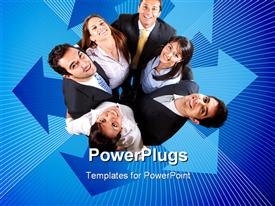 PowerPoint template displaying business team together making a circle over blue in the background.