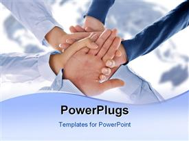 PowerPoint template displaying close up view of hands getting together in office environment in the background.