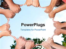 PowerPoint template displaying diverse young adults giving thumbs up