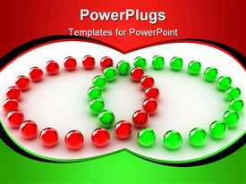 PowerPoint template displaying lots of small gren and white balls in two cirlces