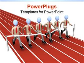 PowerPoint template displaying metaphor of how teamwork brings success in the background.