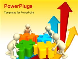 PowerPoint template displaying four puppets holding in hands a puzzle of multi color. Objects over white