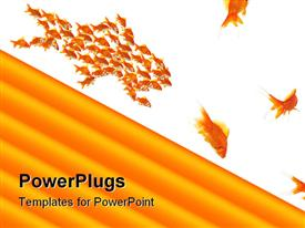 PowerPoint template displaying lots of gold fishes on a whte surface withthick yellow lines