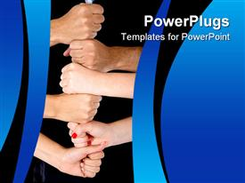 PowerPoint template displaying lots of adult human hands in a fist together portraying team work