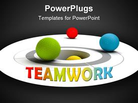 PowerPoint template displaying multicolored golf balls near of a target and a hole in the background.
