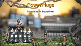 Team of ants managing sunrise teamwork solar management fantasy template for powerpoint