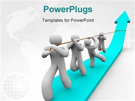 Team works together to pull up a growth arrow powerpoint design layout