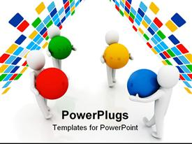 PowerPoint template displaying men working together concept computer generated depiction