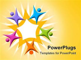PowerPoint template displaying multicolored figures arranged around orange star, teamwork