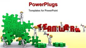 PowerPoint template displaying business Team work building a puzzle