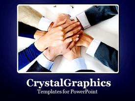 PowerPoint template displaying teamWorkHands108