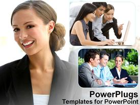 PowerPoint template displaying smiling woman next to depictions of group discussions