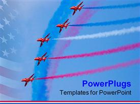 PowerPoint template displaying air show of five airplanes with trail of colored smoke
