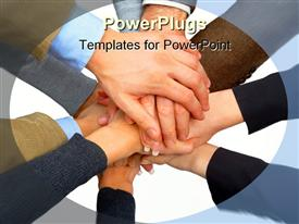 PowerPoint template displaying business team putting their hands together showing unity