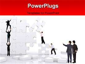 PowerPoint template displaying team work depiction with team players building wall with puzzle pieces