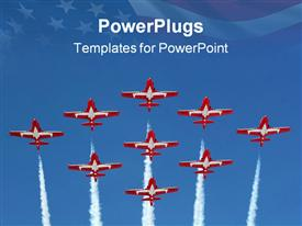 PowerPoint template displaying a number of airplanes with American flag in the background