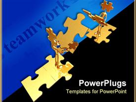 PowerPoint template displaying golden figures trying to finish puzzle and teamwork word on blue background