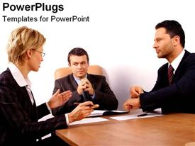 PowerPoint template displaying three adult humans in black suites having a meeting