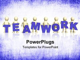 PowerPoint template displaying eight puppets with blue letters in hands. Object over white in the background.