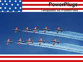 PowerPoint template displaying five ex military naval jets flying in formation over blue sky
