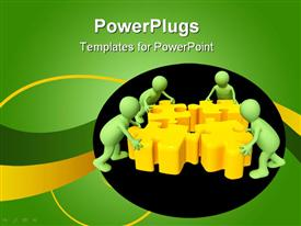 PowerPoint template displaying teamwork metaphor with green people assembling yellow puzzle