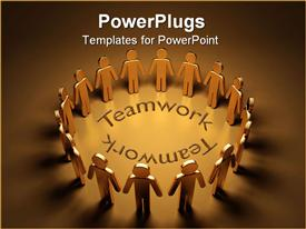 PowerPoint template displaying a group of people standing together with teamwork in middle